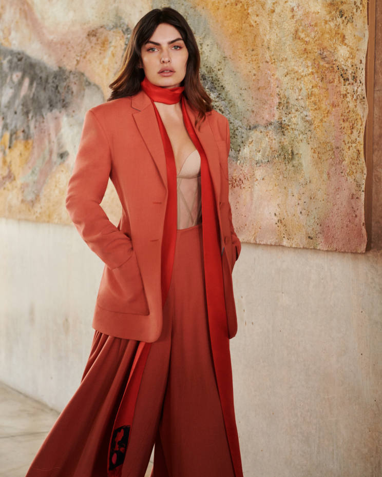 Roksanda wool twill Annika jacket, £1,495, matching Raha trousers, £995, and silk scarf, price on request. Andreas Kronthaler for Vivienne Westwood cotton corset, £4,600
