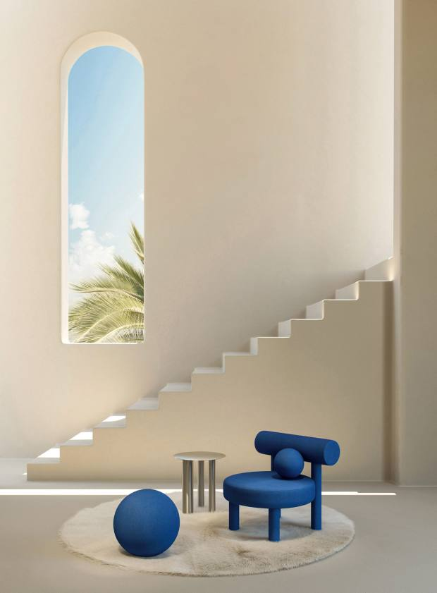 The Gropius chair in Yves Klein Blue by Noom atlast year's Maison & Objet exhibition in Paris