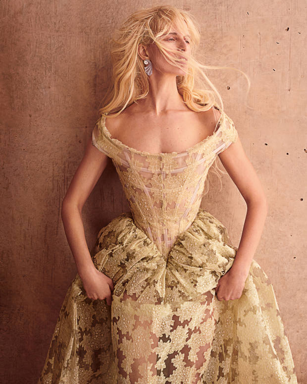 Vivienne Westwood Couture embroidered silk organza and tulle dress, price onrequest. Boghossian whitegold, diamond andchalcedony Inlay earrings, £318,900