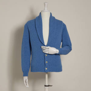 Anderson & Sheppard lambswool shawl-collar cardigan in powder blue, £325