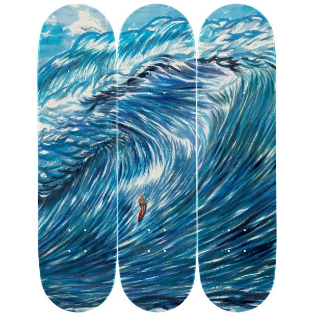 No Title (The Bright Flatness), 2003, by Raymond Pettibon, reproduced on The Skateroom's skateboards
