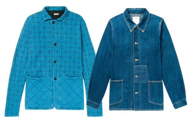 Mr Porter stocks a Kapital cotton-jersey jacket, £290, and Visvim denim jacket, £940