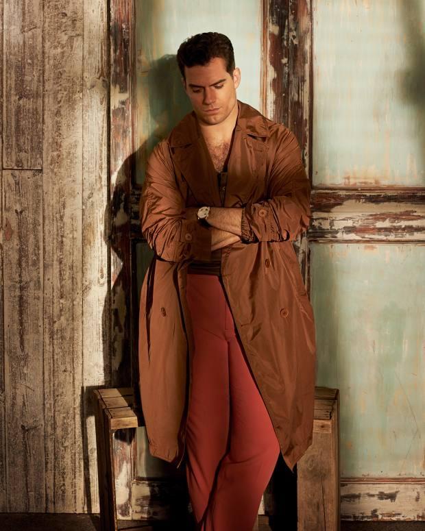 Bottega Veneta silk coat, £1,350, cotton top, £225, andwool trousers, £675. Jaeger-LeCoultre pink gold Duomètre Quantième Lunaire on alligator strap, £34,000