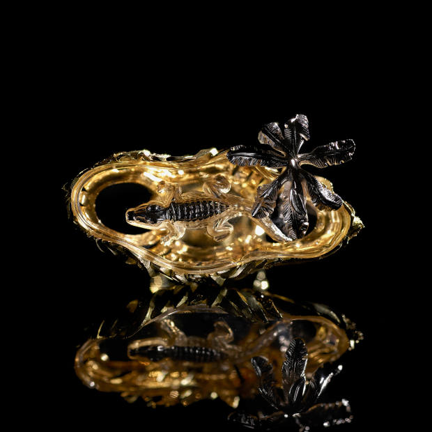 The intricate Congo ring, £22,000, fuses rock crystal, diamonds and yellow and white gold