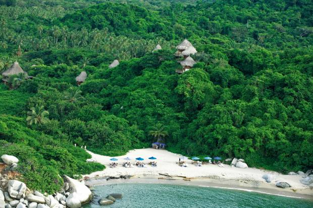 The lush forest of Colombia's Tayrona National Park leads out to golden sand dunes