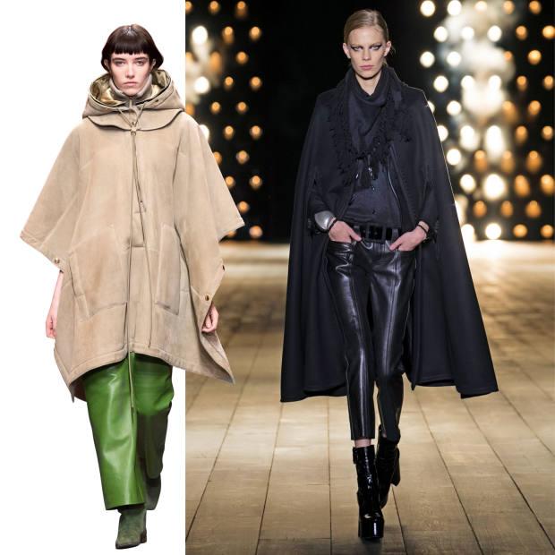 From left: Salvatore Ferragamo shearling poncho, £5,905, hood, £2,030. Saint Laurent wool cape, £6,935