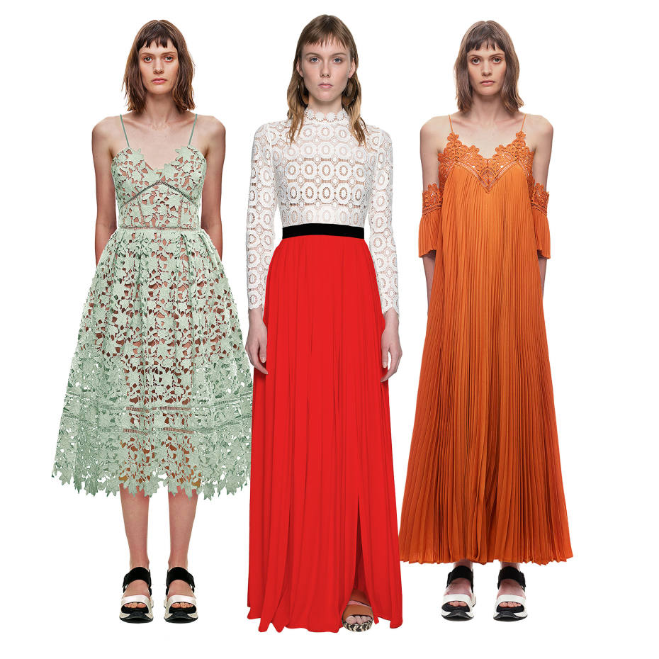 From left: Self-Portrait polycotton Azaelea dress, £240. Guider lace/polycotton maxi dress, £320. Lace/polycotton dress, £320
