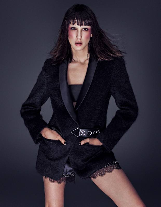 Alexander Wang wool blazer with leather belt, £900, satin bandeau bra, price on request, and silk and lace shorts with metal ring detail, price on request