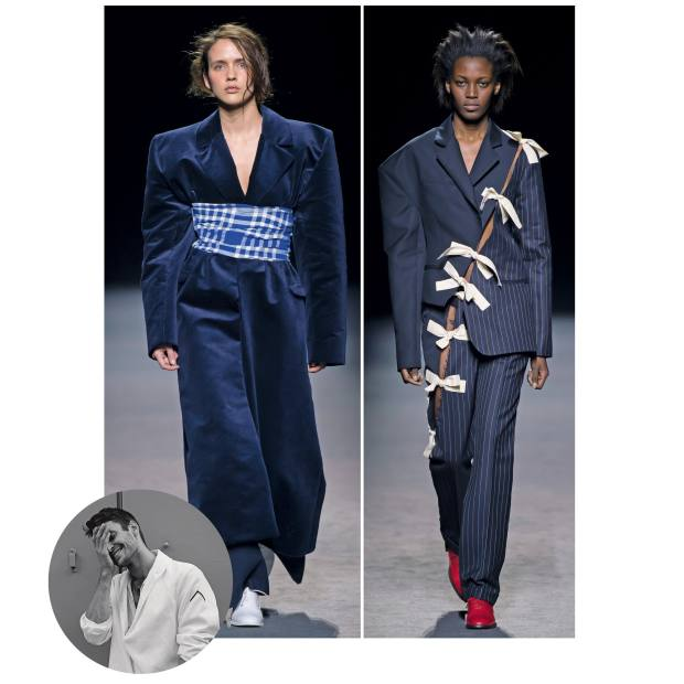 From left: Jacquemus wool/cotton coat, £735; and wool/cotton jacket, £405, and matching trousers, £615