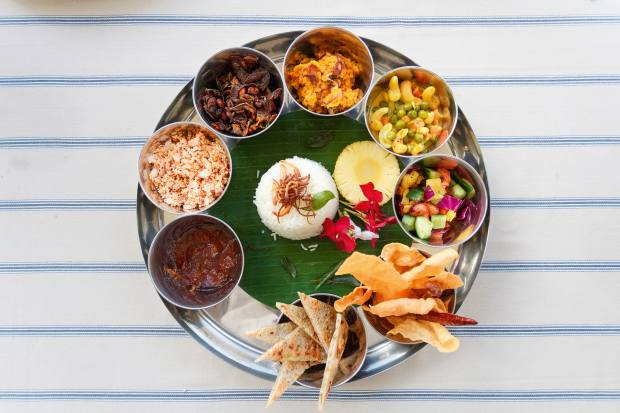 Indian thali served with Sri Lankan rice served at KK Beach