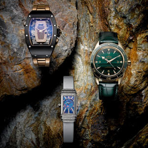 From top: Richard Mille red-gold, diamond and jasper RM 037, £118,000. Omega yellow-gold and malachite Seamaster, £21,300. Jaeger-LeCoultre white-gold, diamond, opal and mother-of-pearl Reverso One Duetto, £43,900