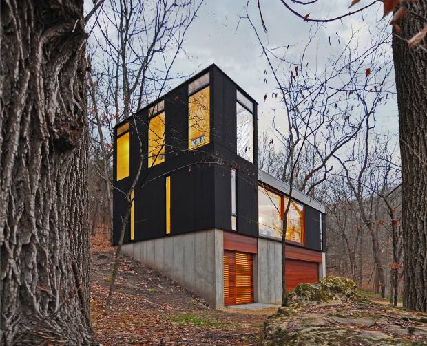 Stacked Cabin in Wisconsin, by Johnsen Schmaling Architects, features a viewing tower