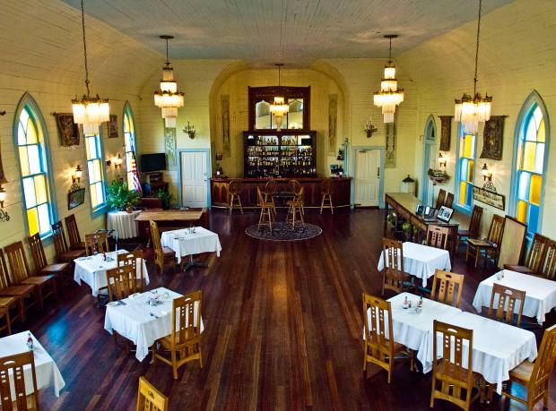 The Woodland Plantation's dining hall in an old chapel