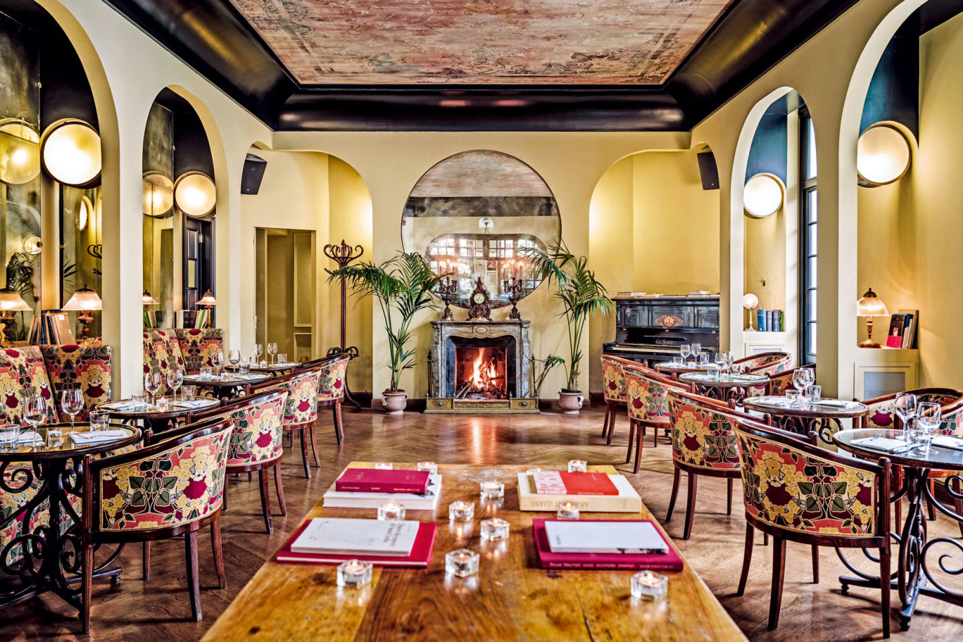 The renovated bar at Hotel Locarno, in Rome, has lost none of its old-world charm