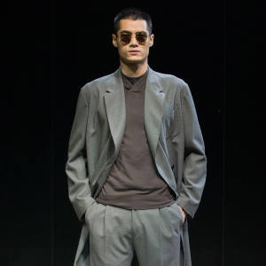 Cerruti wool coat, £1,800, and matching trousers, £220
