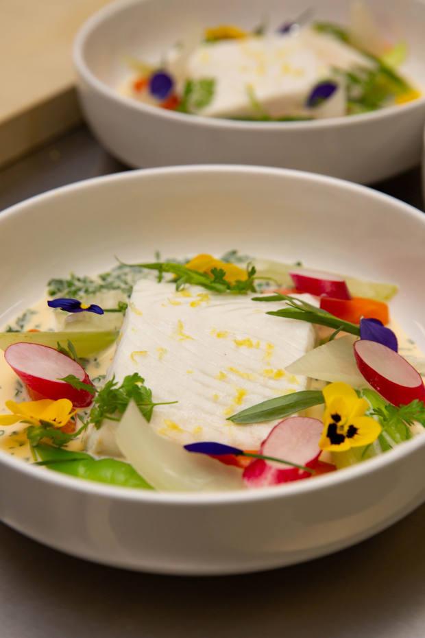 A dish of halibut à la nage