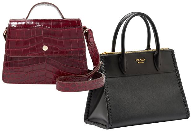 From left: Elizabeth and James crocodile-effect-leather and suede Eloise bag, £300. Prada Saffiano leather Paradigme bag, £1,890