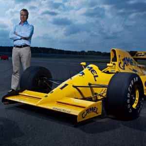 """Andrew """"Moz"""" Morris and Classic Team Lotus leader Clive Chapman on the Classic Team Lotus track with Moz's 1990 F1 Lotus Lamborghini."""