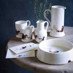 Fenella Smith ceramic jugs, from £18.50, mugs, from £14.50, dog bowl, £28, and Dogs Trust notecards, £9.50 for a pack of 10; 25 per cent of the sale price goes to the Dogs Trust (www.dogstrust.org.uk). www.fenellasmith.com