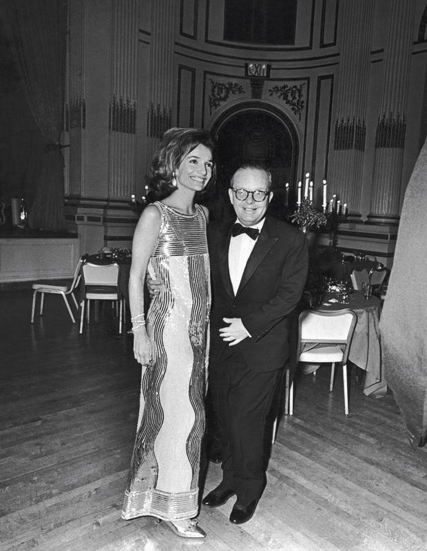 Lee Radziwill, wearing a gown by Mila Schön, and Truman Capote at his Black and White Ball, in 1966