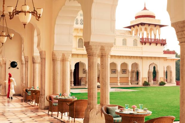 The Verandah Café at the Rambagh Palace hotel, which was once the Maharaja of Jaipur's residence