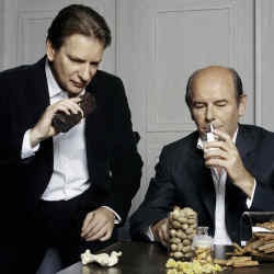 Christopher Sheldrake, Chanel's director of perfume research and development (left) with the house perfumer Jacques Polge.