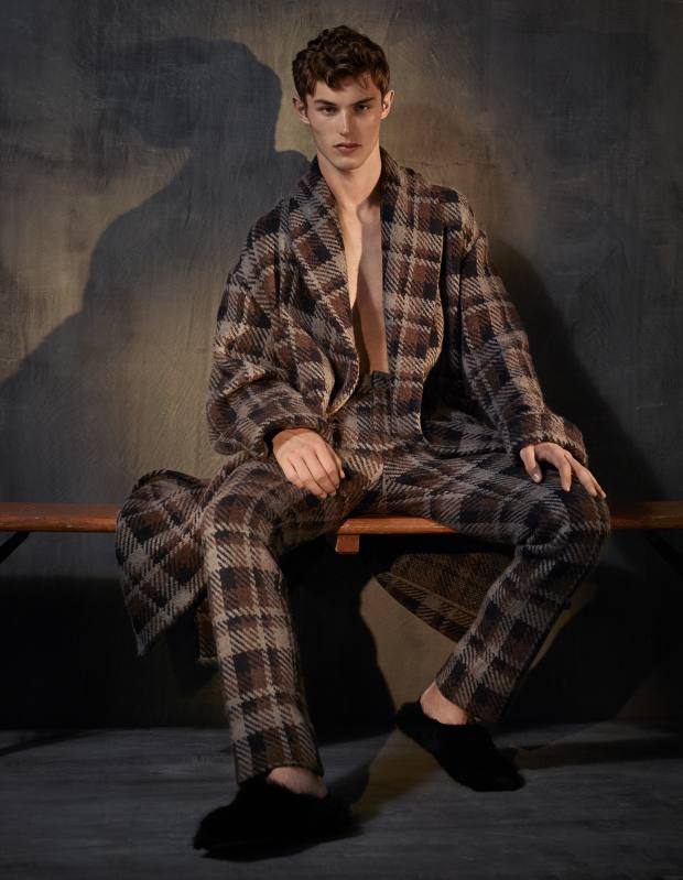 Fendi wool coat, £1,530, matching trousers, £520, and shearling slippers, £650