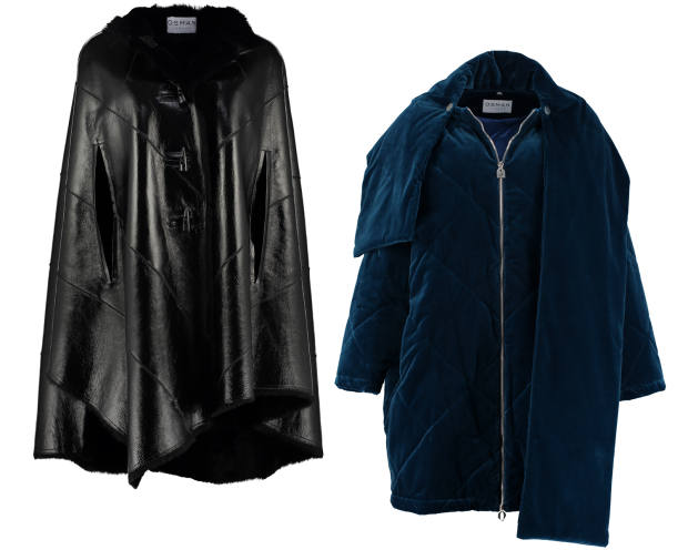 Exclusive designs include a black shearling cape, £1,900, and velvet coat, £995