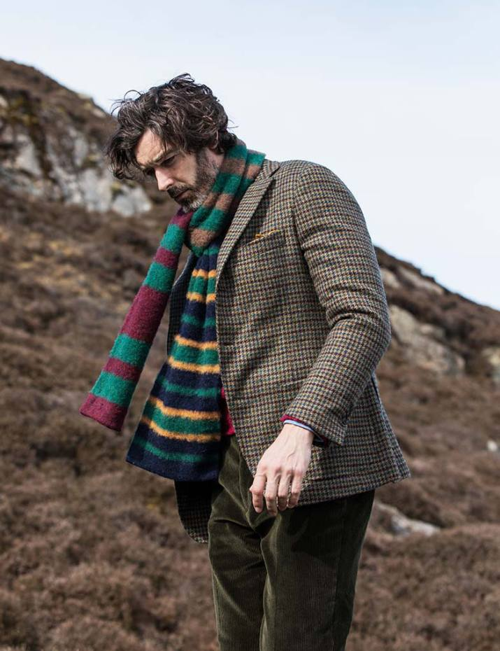 Wool jacket, £1,095, lambswool jumper, £175, cotton trousers, £255, and lambswool scarf, £105