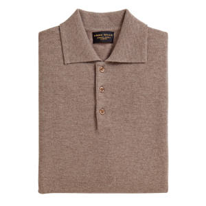 Two-ply cashmere polo knit, in natural (£390)