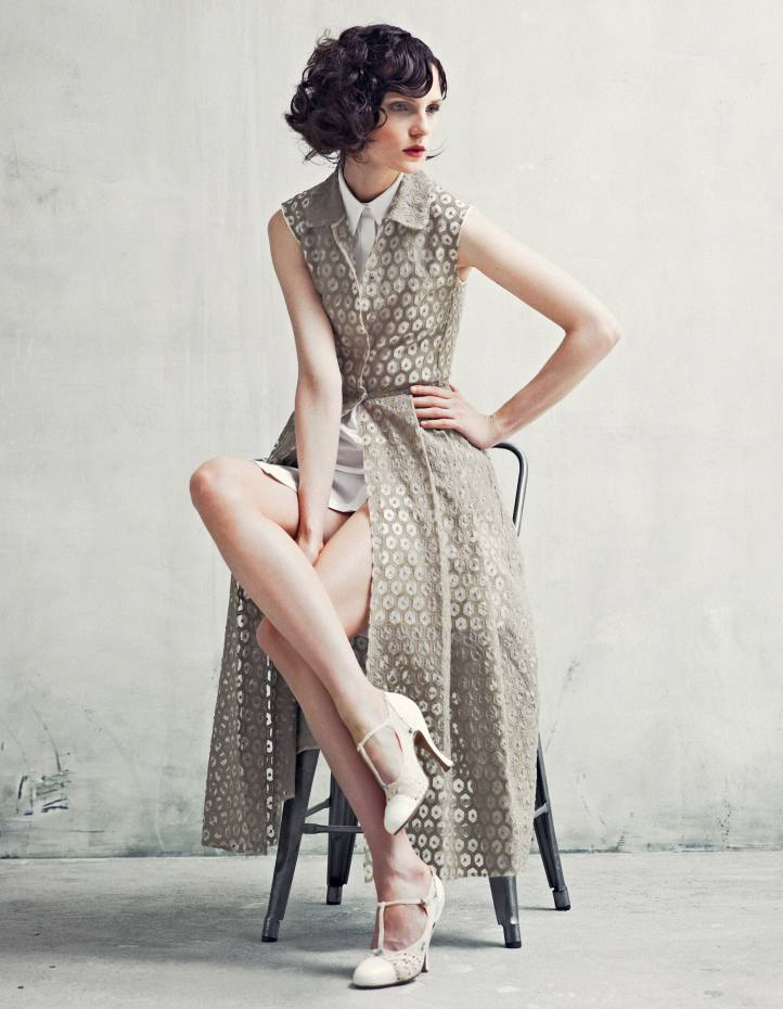 Giambattista Valli long cotton shirtdress, about £1,792, and short cotton shirtdress (worn underneath), about £507. Caroline Groves alum-tawed-leather and hand-crocheted-cotton shoes, made to order, from £2,500