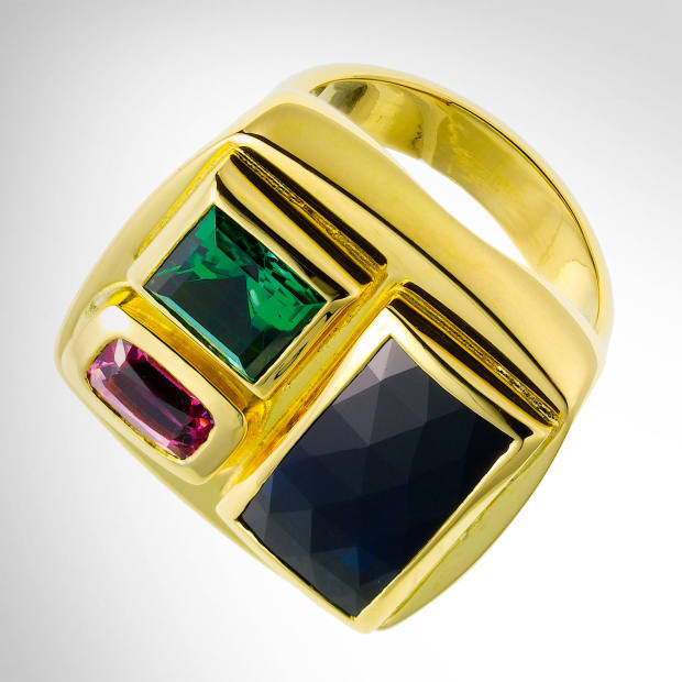 Ben Day yellow gold, indicolite, green tourmaline and pink spinel ring,
