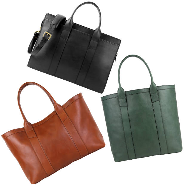 Clockwise from top: Frank Clegg leather ziptop briefcase, $850; tall leather tote, $700; large working leather tote, $700