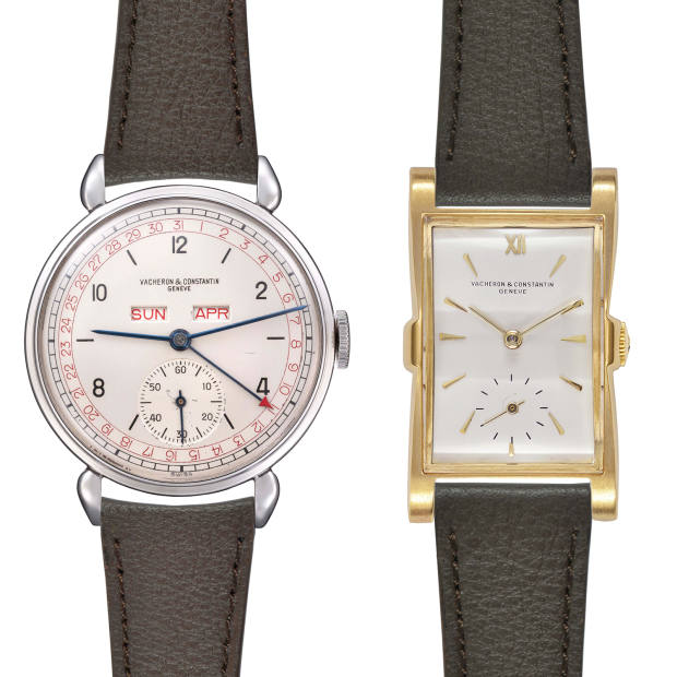 From left: Vacheron Constantin stainless-steel complete calendar wristwatch, ref 4240, made in 1945, £8,000 to £12,000. Yellow gold wristwatch, ref 4195, made in 1949, £7,000 to £10,000