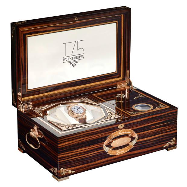 The presentation box for the Patek Philippe rose-gold Gentlemen's Grandmaster Chime