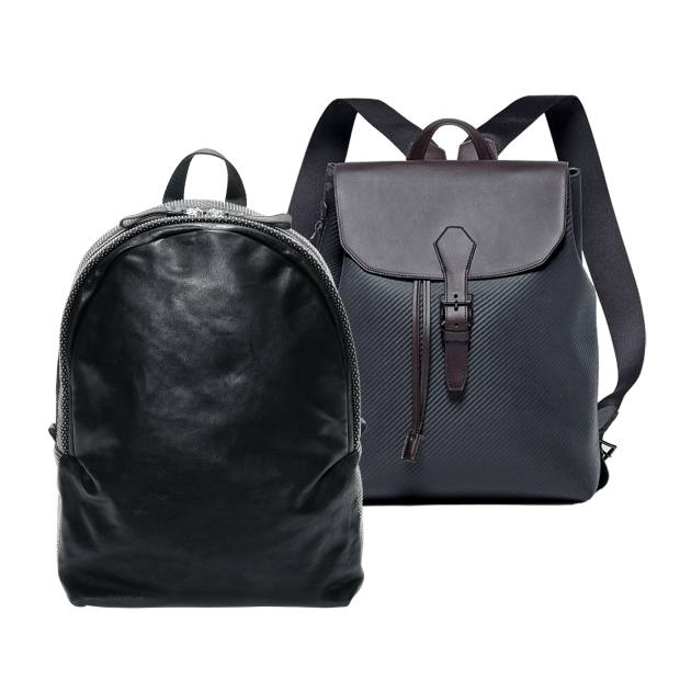 Dunhill cowhide Chassis rucksack, £825. Alexander McQueen studded leather backpack, £1,195
