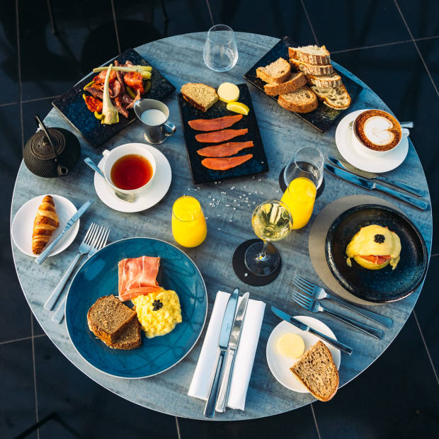 The four-course menu offers a choice of pastries and smörgasbords, followed by the likes of bavette steak and traditional eggs Benedict, Florentine or Royale topped with sustainable, organic Kasperskian caviar