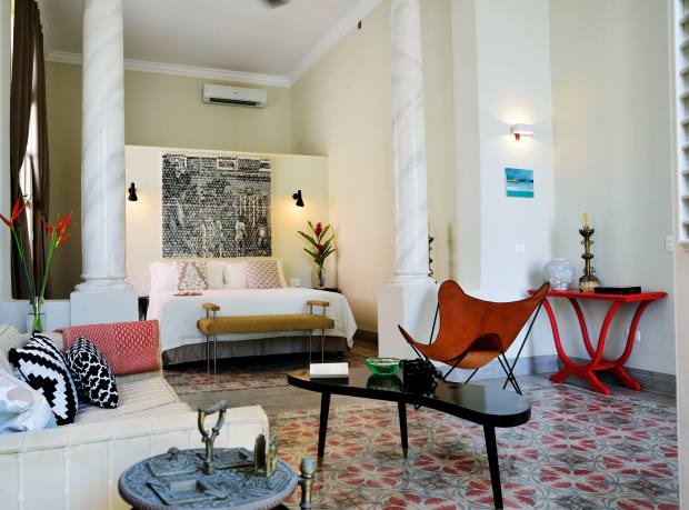 A suite at La Reserva, a refurbished 1914 mansion in Vedado