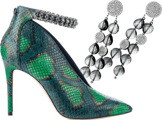 From left: Jimmy Choo python and Swarovski-crystal Lux 65 booties, £1,995. Atelier Swarovski by Iris Apfel palladium-plated and crystal Just Iris earrings, £249