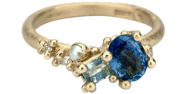Ruth Tomlinson ring with sapphire and aquamarine in gold, £1,980