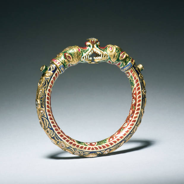 19th-century gold, sapphire, ruby and enamel bangle, £5,800, from Simon Ray