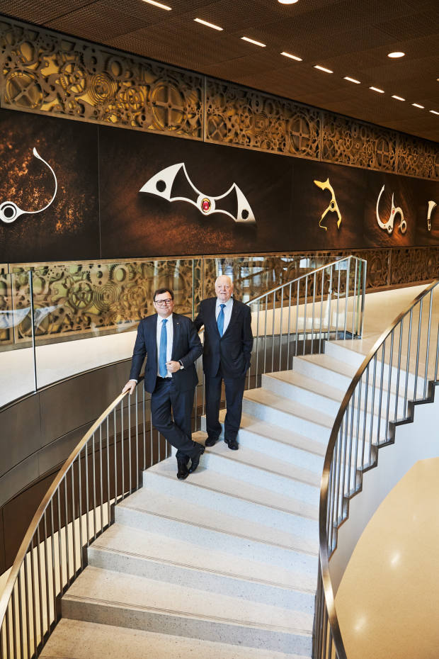 Patek Philippe president Thierry Stern and his father, Philippe, in the brand's new building