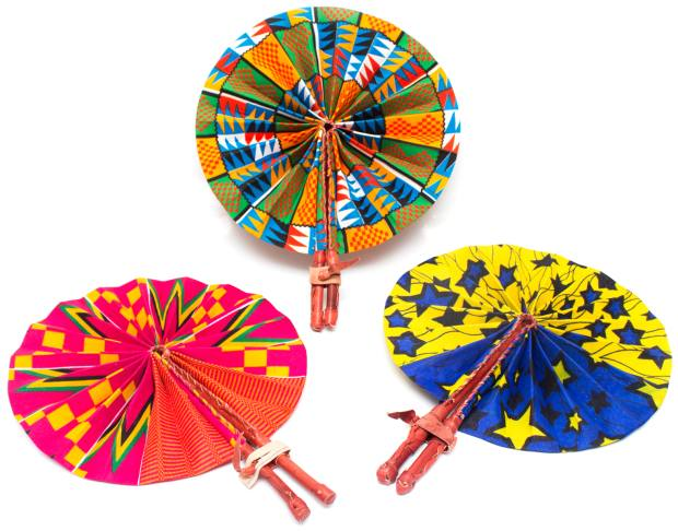 A selection of waxed-cotton and leather fans, £15 each