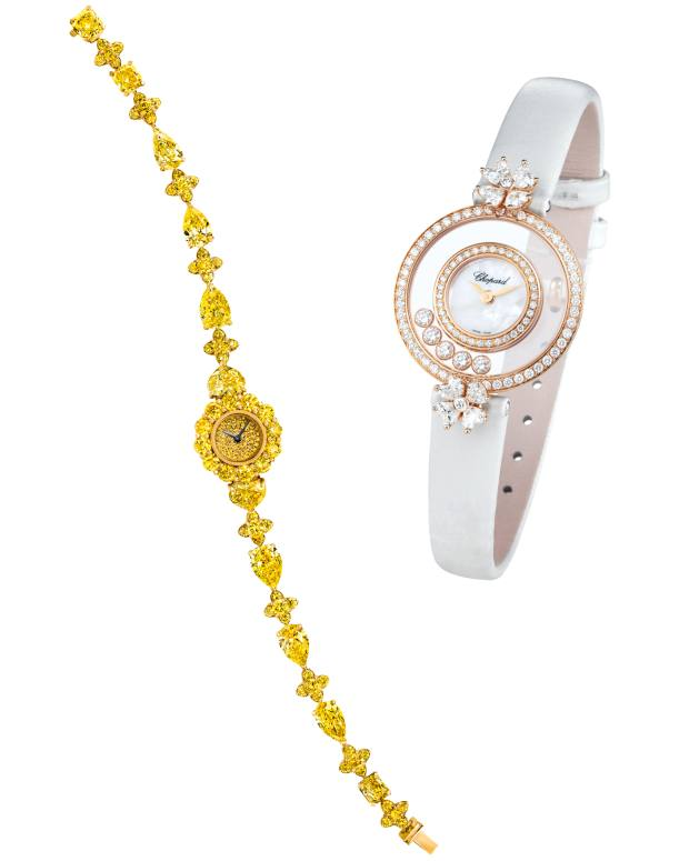 557814cdb From left: Graff gold and yellow-diamond watch, price on request. Chopard