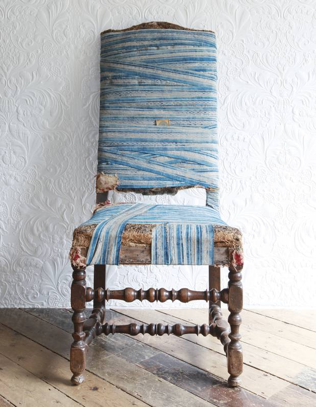 Walnut William and Mary chair bound in Fortuny fabric, £4,200.