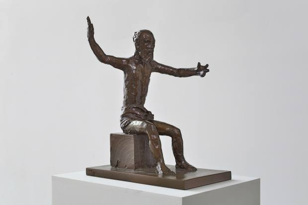This statue of Tiresias, the blind prophet of Apollo, sits in the centre of the works on show