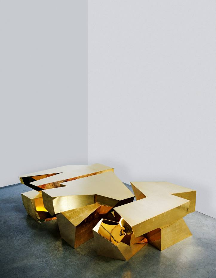 24ct gold-plated Gold Quartz table by Juan and Paloma Garrido, price on request