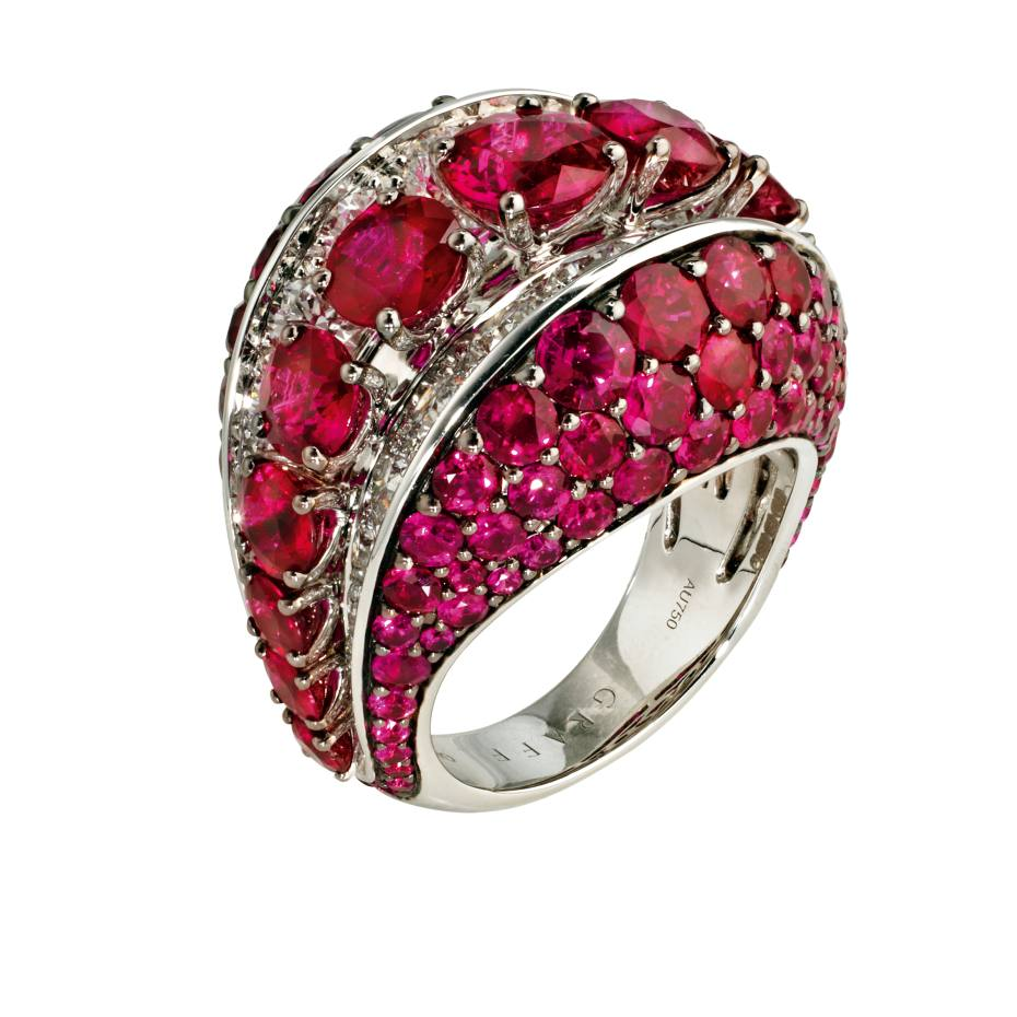 Graff platinum Bombé ring with diamonds and rubies, from £115,000