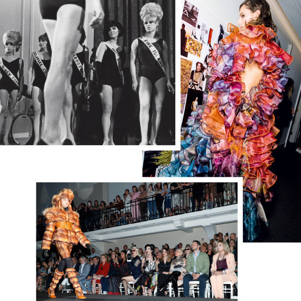 Clockwise from top left: drag performers compete in a beauty contest in New York, 1967. A model wears Mary Katrantzou, 2019. Miss Fame in the front row (centre) of the Jean Paul Gaultier show at Paris Fashion Week, 2019