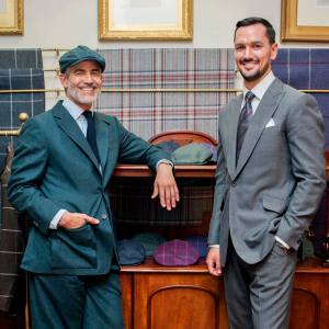 Juan Santa Cruz, left, with senior client manager Ross Carson at Savile Row tailor Huntsman
